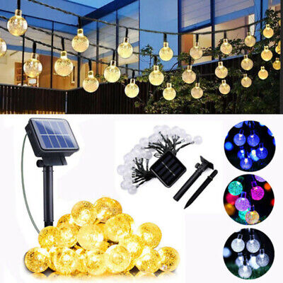 UK Solar Powered LED Crystal Ball Fairy String Lights Garden Party Outdoor Lamps • 10.99£