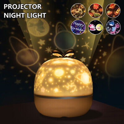Rotating Starry Projection Lamp LED Night Light 360° Music  Xsmas Kids Baby Gift • 11.09£