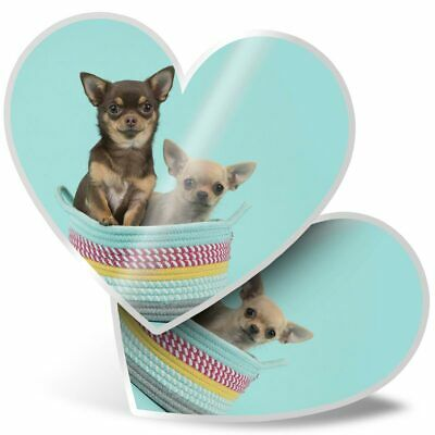 2 X Heart Stickers 15 Cm - Funny Chihuahua Dogs Puppy Puppies  #24346 • 3.49£