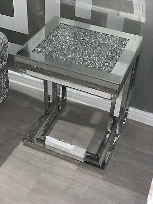 Brand New Wrapped And Boxed Crushed Diamond Mirror Set Of 2 Nest Tables • 250£