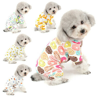 Print Cotton Small Dog Cat Pajamas Pjs Puppy Jumpsuit Yorkie Chihuahua Clothes • 5.62£