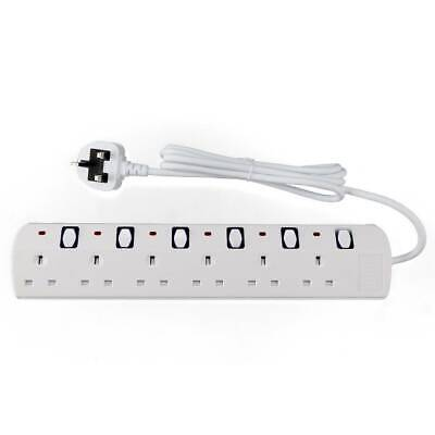 £11.99 • Buy 6way Surge Protected Mains Extension Lead  UK Power Cable Electric Plug Socket