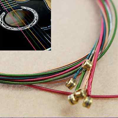 $ CDN1.75 • Buy Perfect One Set 6 Rainbow Colorful Steel Strings For Acoustic Electric Guitar