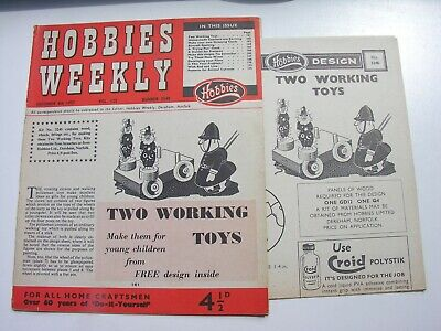 HOBBIES WEEKLY 1957 Two Working Toys Design Sheet Wine Recipes Frying Pan Clock • 6£