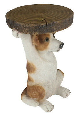 36cm Jack Russell Dog  Side Occasional Table Tree Trunk Top Statue Polystone  • 59.50£