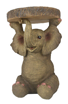 £59.50 • Buy 34cm Baby African Elephant Side Occasional Table Plant Stand Statue Polystone
