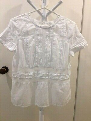AU29 • Buy Witchery M White Pretty 100% Cotton Blouse AS NEW In Perfect Condition
