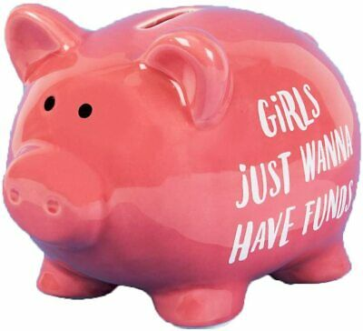 Pink Piggy Bank 'Girls Just Wanna Have Funds' Money Box Ornament - 17cm *Gift* • 12.99£