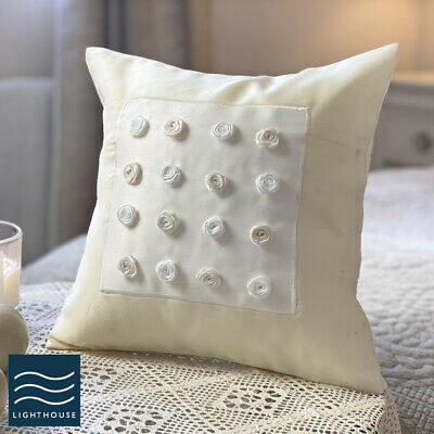 Luxury Country Cottage 12  Ivory Cream Pale Ribbon Embroidered Cushion Cover • 2.95£