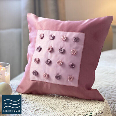 Luxury Country Cottage 12  Blush Pink Rose Ribbon Embroidered Cushion Cover  • 2.95£