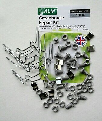 Greenhouse Repair Kit W Glazing Clips Z Clips Cropped & Square Head Bolts ALM • 5.49£