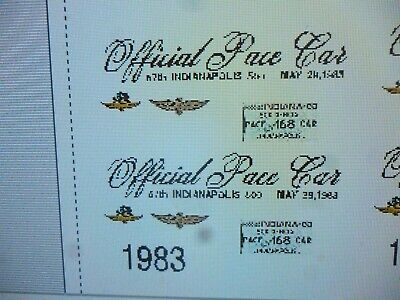 $13.99 • Buy 1983 Indy Pace Car Decals  1:24 Custom