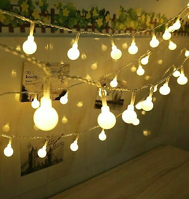 10M/20M Mains Powered Warm White Ball LED String Fairy Lights Indoor Outdoor UK • 8.99£