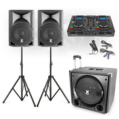 VX800 Complete Mobile DJ Speaker System PA With Twin CD Mixer Player, Microphone • 569£