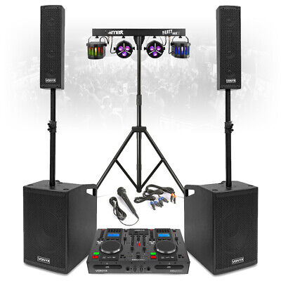 VX1050 Mobile DJ Set PA Speakers System With Twin CD Mixer, Lights And Micophone • 799£