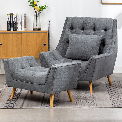 £139.95 • Buy Nordic Lazy Sofa Corner Chaise Lounge Armchair Chenille Fabric Deep Button Seat