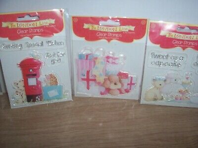 3 X Acrylic Stamps By London Line. ( Post Box / Cup Cake & Birthday Present ) • 2.95£