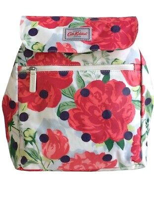 Cath Kidston Peony Spot Floral Print Oilcloth Rucksack Backpack Bag BNWT • 29.99£