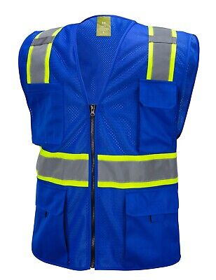 £7.95 • Buy Blue Two Tones Safety Vest ,With Multi-Pocket Tool
