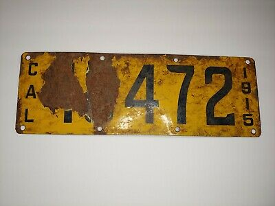 $ CDN99.94 • Buy Antique Rare California 1915 Porcelain License Plate Yellow