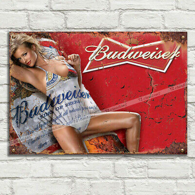 BUDWEISER GIRL AD Vintage Metal Tin Plaque Signs Man Cave Pub Club Cafe TIKI BAR • 8.99£