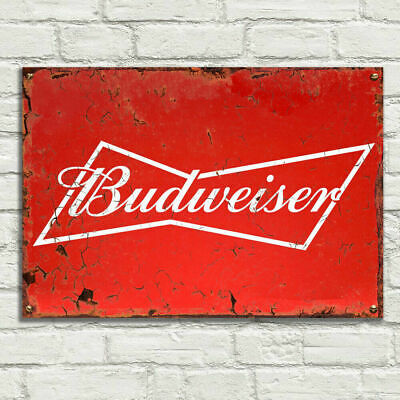BUDWEISER RED ADV Vintage Metal Tin Plaque Signs Man Cave Pub Club Cafe TIKI BAR • 7.99£