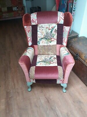 £300 • Buy Vintage Wing Back Armchair In Patchwork Shabby Chic Style