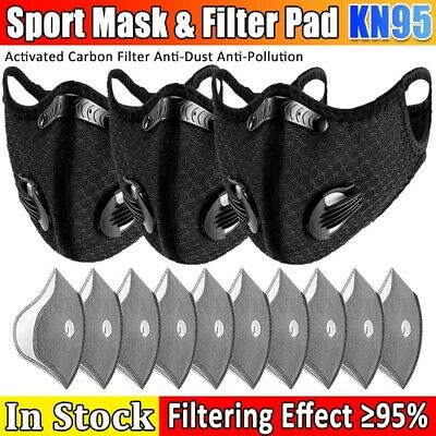 AU14.56 • Buy Reusable Sport Face Mask Silicone Mouth Nose Separate Respirators Filter Pad Set