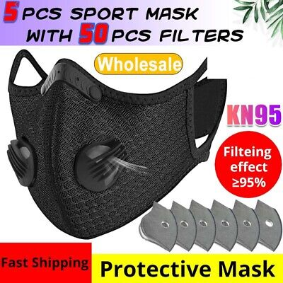 $ CDN13.19 • Buy Reusable Cycling Mask With Valve +3/4/5 Layer Carbon Filter Pad For Sport Masks