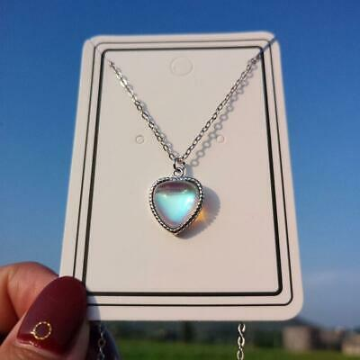 AU5.22 • Buy Heart Moonstone Pendant 925 Sterling Silver Chain Necklace Womens Gift Y2E0