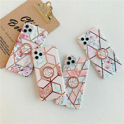For Samsung S8 S10 P40 IPhone11 12 Marble Phone Case With Ring Holder Soft Cover • 1.45£