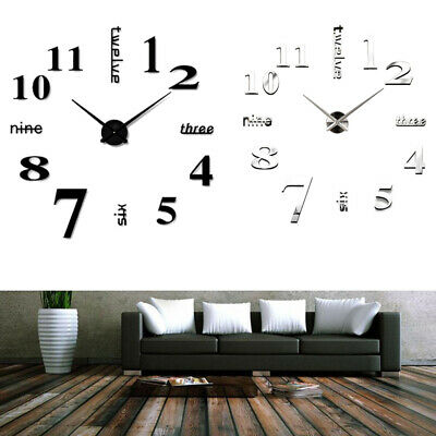 Large DIY 3D Frameless Number Wall Clock Mirror Sticker Office Home Room Decor • 11.95£