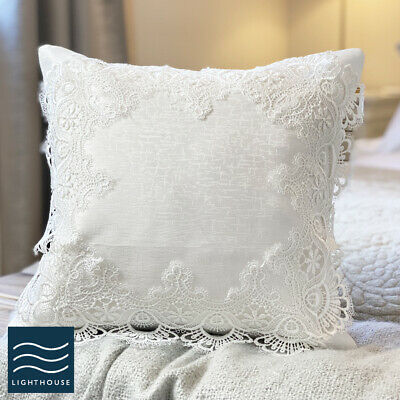 Pair Of Soft White Lace Damask Cushion Covers Vintage Country 16  Crochet Square • 14.95£