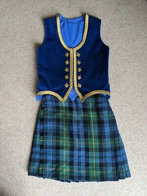 Childrens Highland Dancing Outfit Adjustable Waistline - Tartan Blue/green/gold • 150£