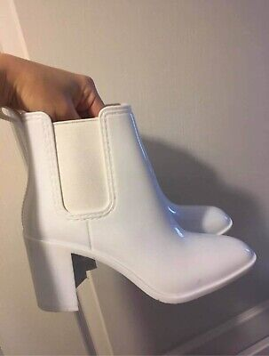 £57 • Buy Jeffrey Campbell Ankle Boot Wellington With Heel White Rubber UK 5 / EU 38