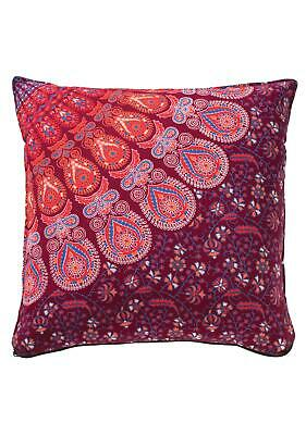 Maroon Red Peacock Screen Printed Cotton Cushion Cover 45 X 45 Cm • 13£