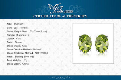 1.8ct Genuine Peridot 925 Sterling Silver Stud Earrings UK Seller • 11.49£