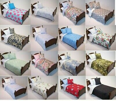 Dolls House Bedding Set - 1/12 Handmade - Singles - New Listing GP18 • 6.99£