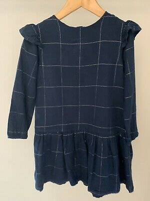 The Little White Company Girl Navy With Sliver Checked Dress Age 3-4 Years • 4£