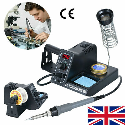 Digital LED 60W Soldering Iron Station Rework Kit Variable Stand Temperature UK • 24.99£