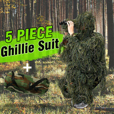5pcs Adults Woodland Military Camouflage Hunting Forest 3D Ghillie Burlap Suit • 28.67£