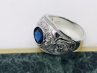 Solid Genuine 925 Sterling Silver Gents College Ring Blue Stone Set 14gr NEW • 49.99£