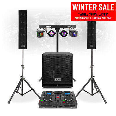VX880 Mobile DJ Set PA Speakers System With Twin CD Mixer, Lights And Micophone • 699£