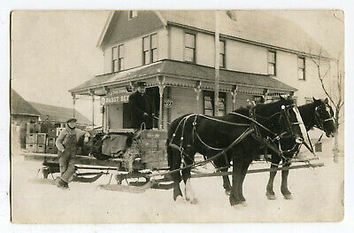 $12.50 • Buy Pre Prohibition Pabst Saloon Horse Drawn Beer Delivery Sleigh Signs Bar WI RPPC