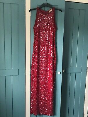 Vintage 80s Roots Red Sequined Ball Gown Evening Dress Formal With Lace Sides  • 24.99£