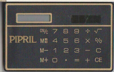 Vintage Credit Card Sized Solar Powered 8-Digit Calculator Pipril Promo 70s 80s • 4.95£