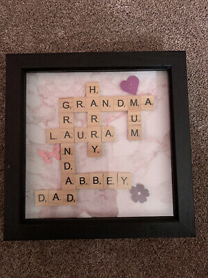 Personalised Family Name Scrabble Or Any Message Picture Box Frame • 20£