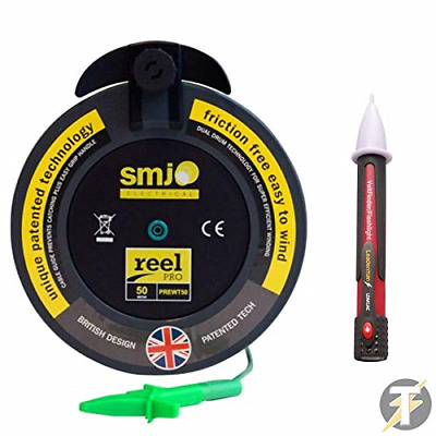 SMJ 50mt Metre R2 Test Lead Extension Wander Lead Reel + Leaderman Voltstick • 74.75£