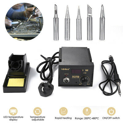 45W Soldering Iron Station Hot Air Digital Welding SMD Stand W/5 Tips 937D LED • 25.99£