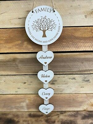 £7.95 • Buy Personalised White Family Where Life Begins Heart New Home Housewarming Gift